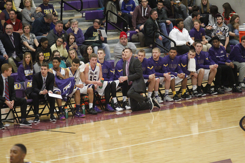 Ashland University head coach John Ellenwood on the sideline against Ohio Dominican University during college men's basketball action Thursday, Jan. 28, 2015 at Kates Gymnasium.
